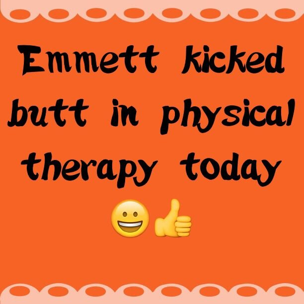 Emmett kicked butt in physical therapy today