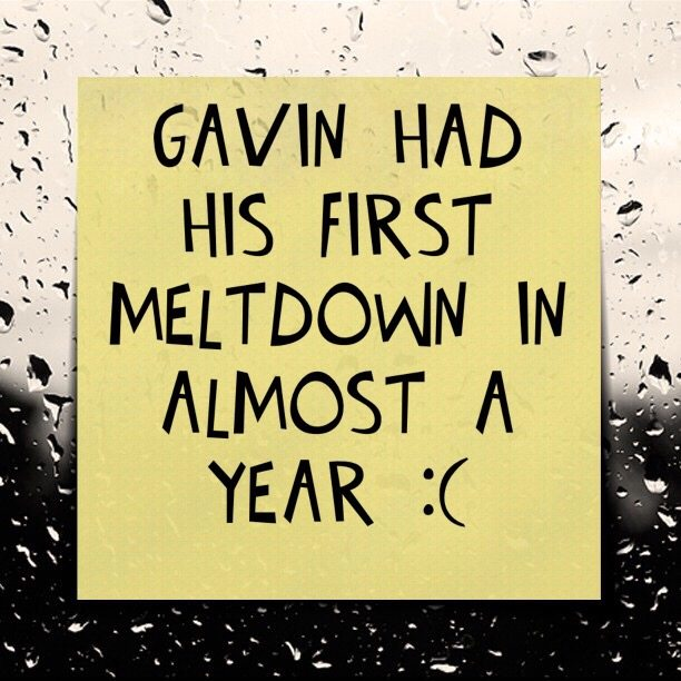 Gavin had his first meltdown in almost a year :(