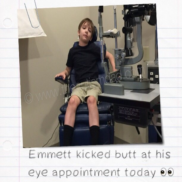 Emmett kicked butt at his eye appointment today