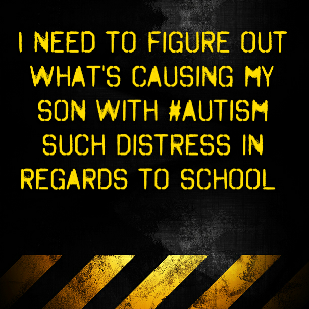 I need to figure out what's causing my son with #autism such distress
