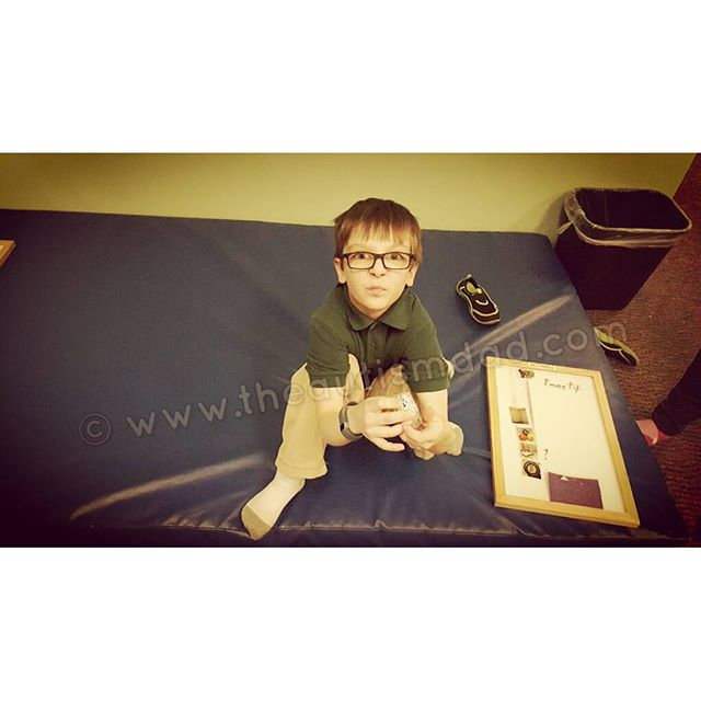 Emmett having fun at occupational therapy