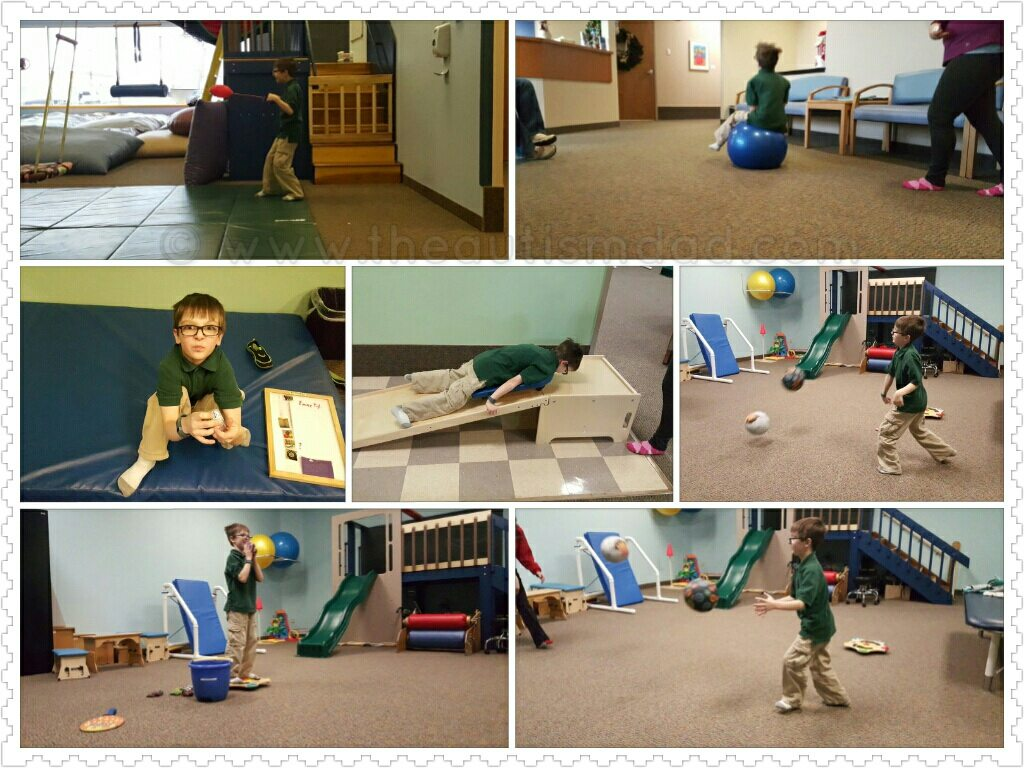 Pictures from Emmett's OT and PT this week