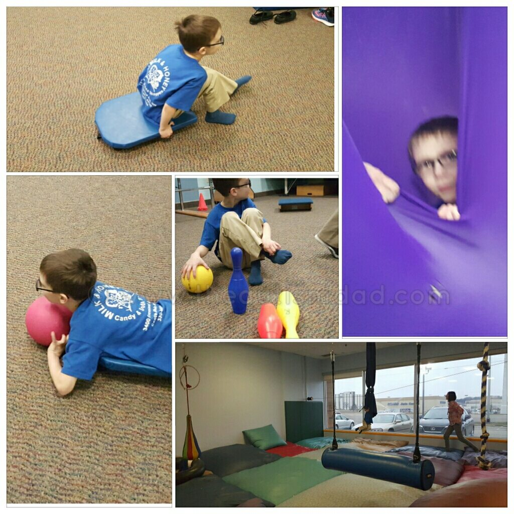 Here's some pictures from Emmett's occupational and physical therapy appointments this week