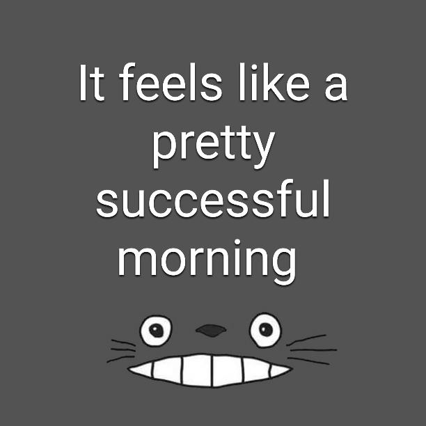 It feels like a pretty successful morning
