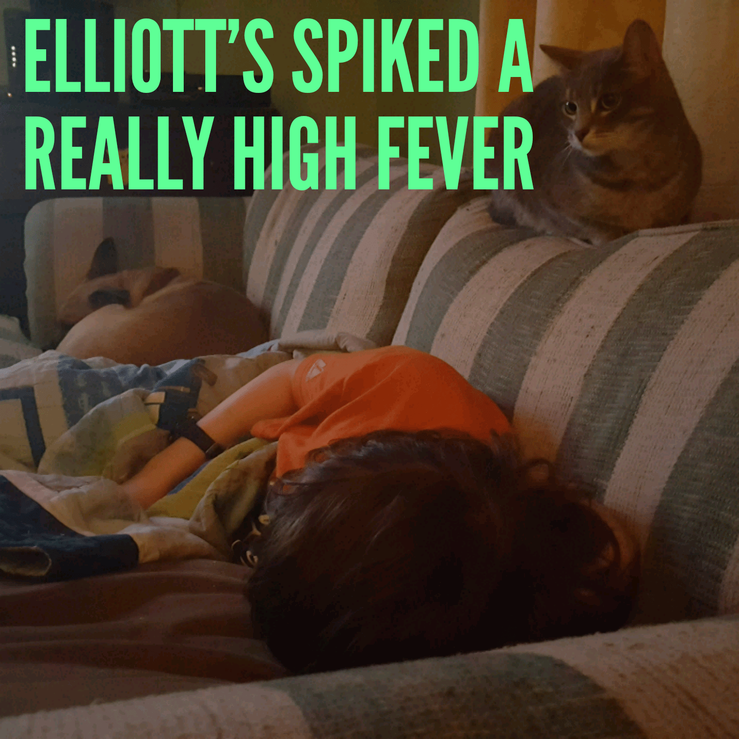 Elliott's spiked a really high fever