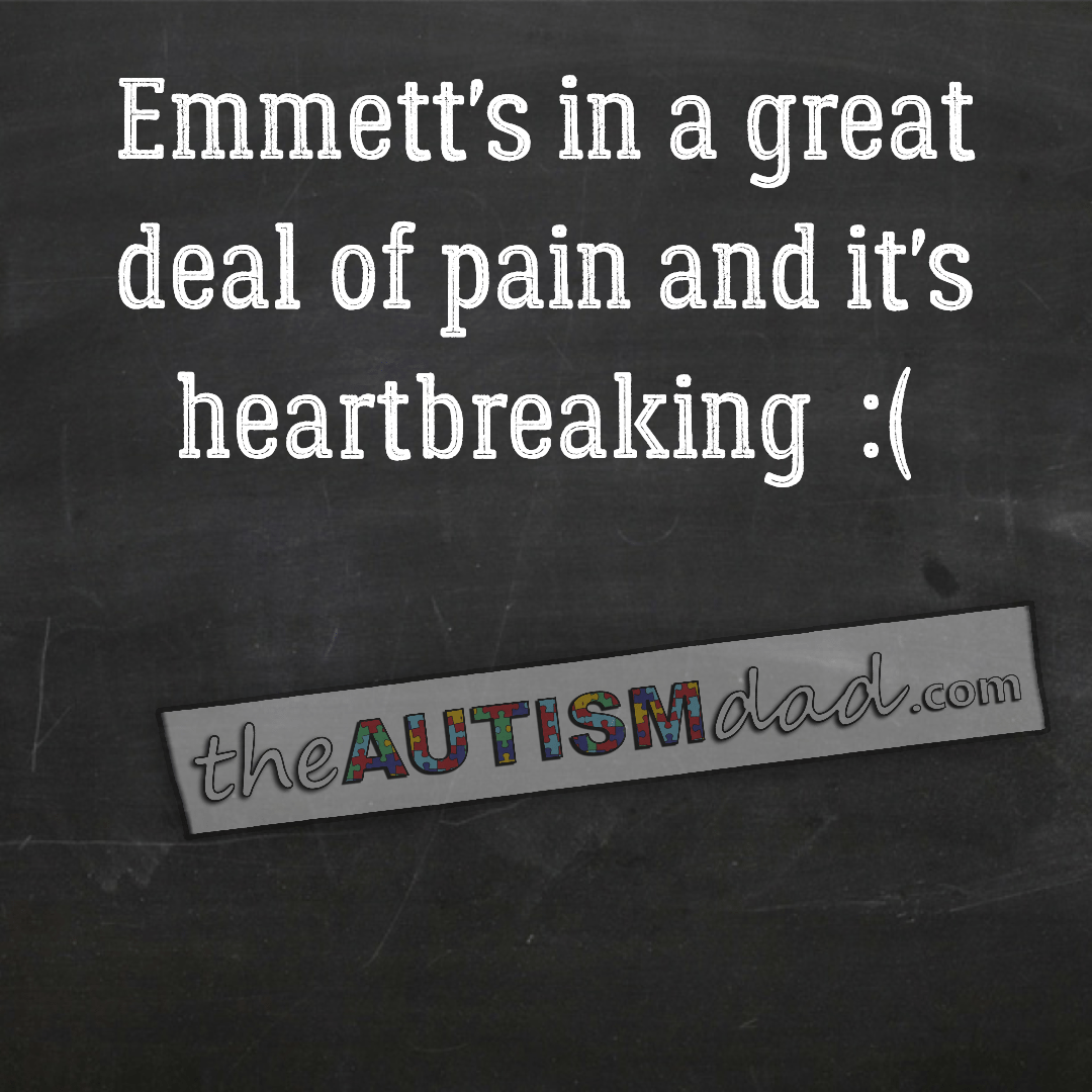 Emmett's in a great deal of pain and it's heartbreaking  :(