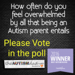 (Daily Poll) How often do you feel overwhelmed by all that being an Autism parent entails? Please Vote