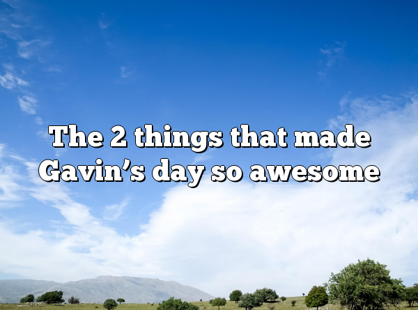 The 2 things that made Gavin's day so awesome