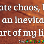 I hate chaos, but it's an inevitable part of my life