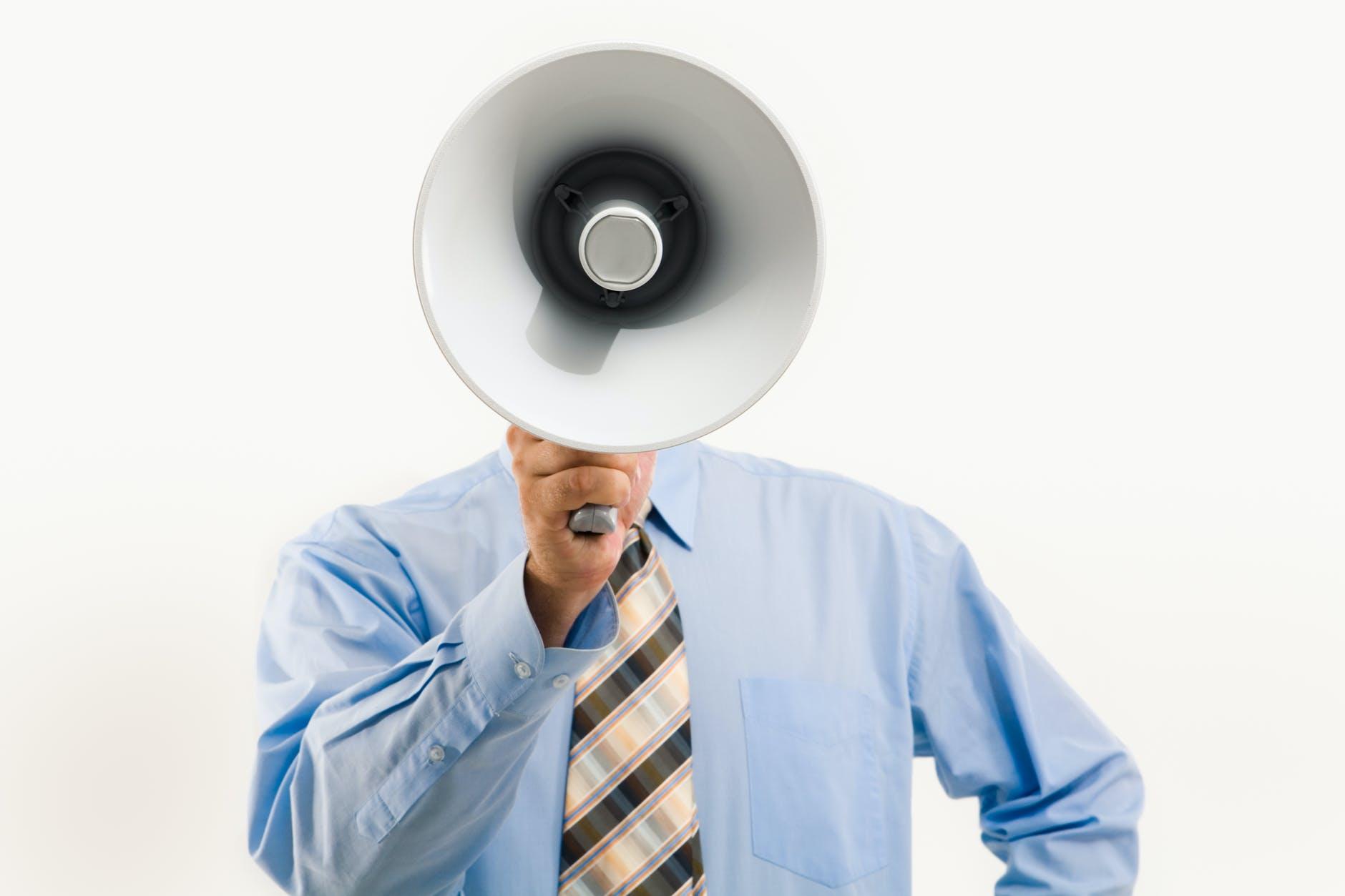 man holding a megaphone