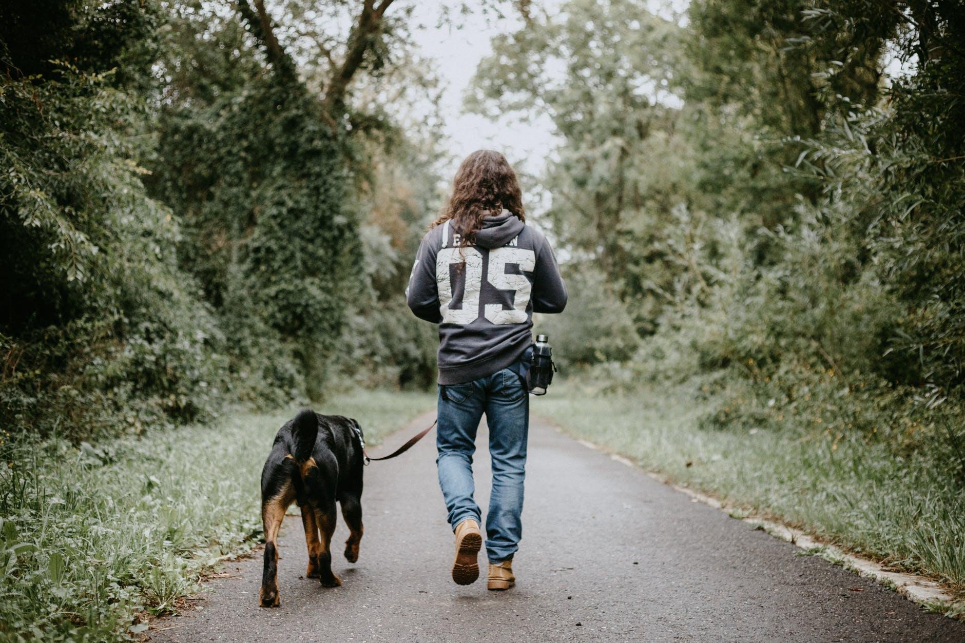 man holdingwalking dog